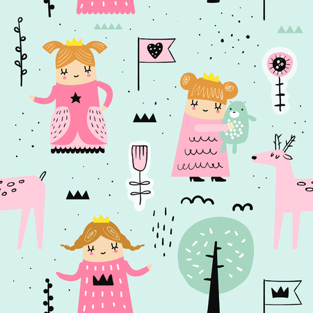 Hand Drawn Seamless Pattern with Little Princess. Creative Childish Background with Cute Girls and Animals for Fabric, Textile, Wallpaper, Decoration, Prints. Vector illustration