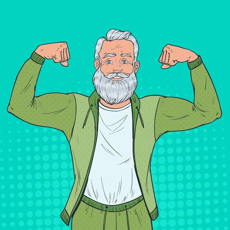Retrato de arte pop de hombre mayor maduro mostrando los músculos. Abuelo fuerte feliz. Estilo de vida saludable. Ilustración vectorial