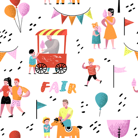 Summer Fun Fair Seamless Pattern. Amusement Park Characters with Cartoon People. Family Kids Vacation Background for Wallpaper, Fabric. Vector illustration