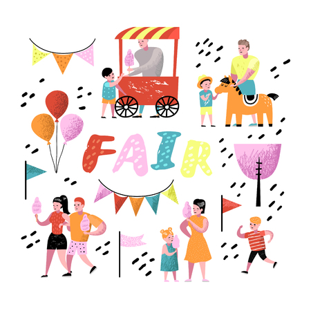Summer Fun Fair. Amusement Park Characters with Cartoon People. Family Kids Vacation. Vector illustration Standard-Bild - 101907891