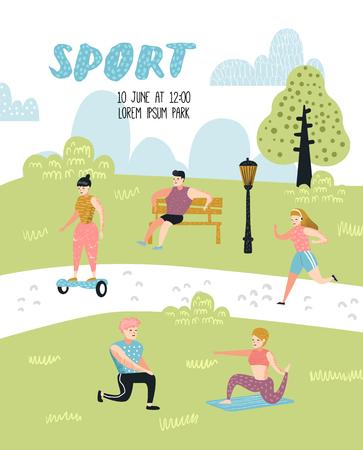 Attività sportive estive all'aperto. Persone attive nel poster del parco, banner. Corsa, Yoga, Roller, Fitness. Personaggi che fanno allenamento fuori. Illustrazione vettoriale