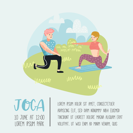 Summer Outdoor Sport Activities. Active People Exercising Yoga in the Park Poster, Banner. Workout Outside. Illustration