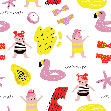 Summer Childish Seamless Pattern with Cute Girls in Swimming Pool. Creative Kids Beach Vacation Background for Fabric, Textile, Wallpaper, Wrapping Paper. Vector illustration Ilustrace