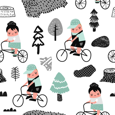 Kids on Bicycle Seamless Pattern. Creative Childish Background with Children and Bikes for Wallpaper, Fabric, Wrapping Paper. Vector illustration