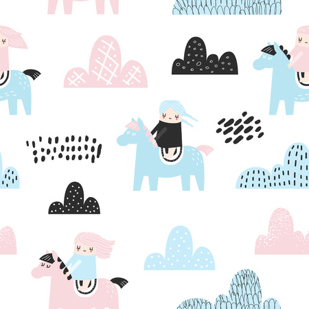 Childish Seamless Pattern with Cute Girls, Clouds and Pony. Creative Kids Background for Fabric, Textile, Wallpaper, Wrapping Paper. Vector illustration