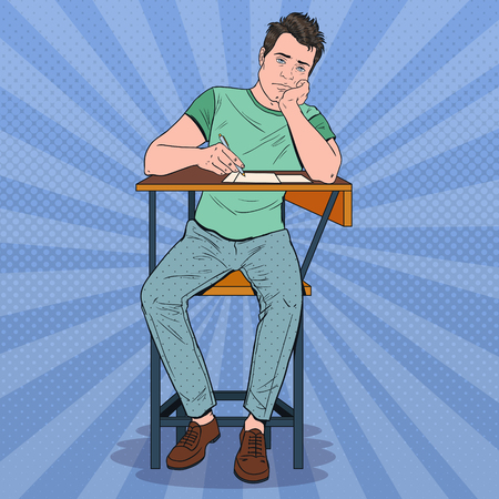 Pop Art Lazy Student Sitting on the Desk During Boring University Lecture. Tired Handsome Man in College. Education Concept. Vector illustration Illustration