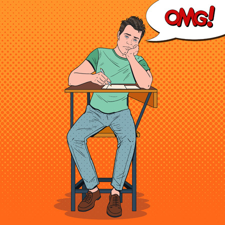 Pop Art Exhausted Student Sitting on the Desk During Boring University Lecture. Illustration
