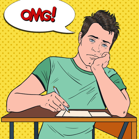 Pop Art Exhausted Male Student Sitting on the Desk During Boring University Lecture. Tired Handsome Man in College. Education Concept. Vector illustration
