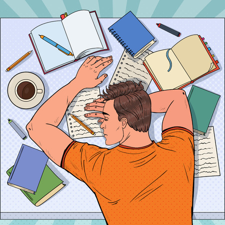 Pop Art Exhausted Male Student Sleeping on the Desk with Textbooks. Tired Man Preparing for Exam.