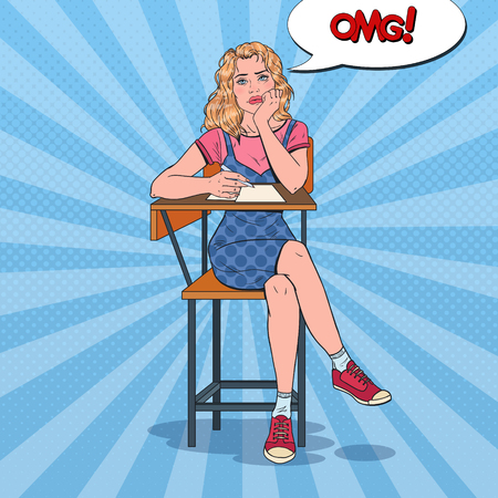 Pop Art Exhausted Student Sitting on the Desk During Boring University Lecture. Tired Pretty Woman in College. Education Concept. Illustration