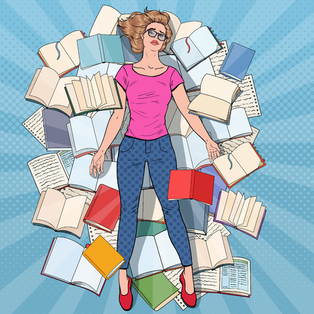 Pop Art Exhausted Student Lying on the Floor among Books. Overworked Young Woman Preparing for Exams. Education Concept. Vector illustration Illustration