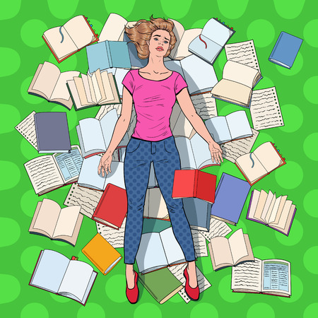 Pop Art Exhausted Student Lying on the Floor among Books. Overworked Young Woman Preparing for Exams. Education Concept. Vector illustration 矢量图像