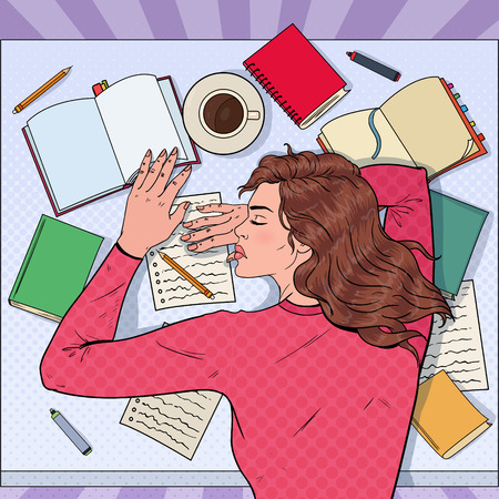 Pop Art Exhausted Female Student Sleeping on the Desk with Textbooks. Tired Woman Preparing for Exam. Vector illustration Foto de archivo - 101913338