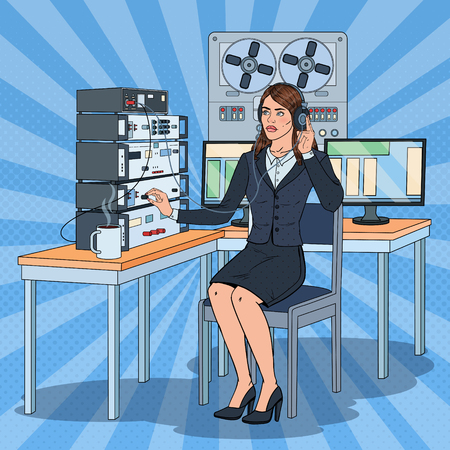 Pop Art Woman Wiretapping Using Headphones and Reel Recorder. Female Spy Agent. Vector illustration