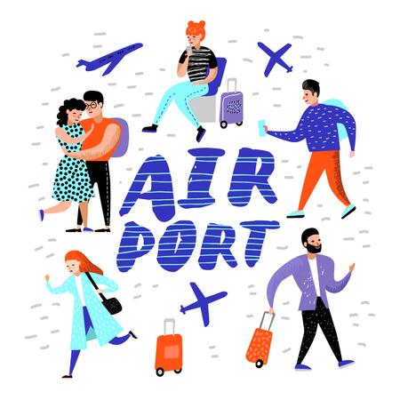 Personas que viajan en avión. Personajes de dibujos animados con equipaje en el aeropuerto. Hombre y mujer con equipaje. Ilustración vectorial
