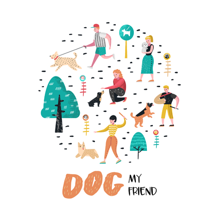People Training Dogs in the Park. Dog Doodle. Characters Walking Outside with Pets. Vector illustration