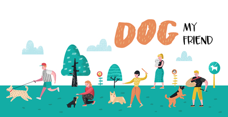 People Training Dogs in the Park. Dog Poster, Banner. Characters Walking Outside with Pets. Vector illustration