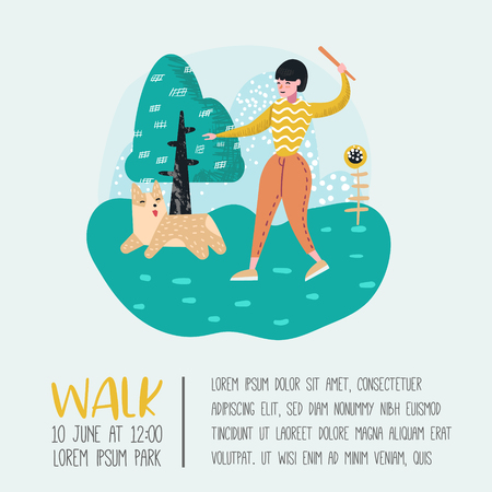 Woman Training Dog in the Park. Dog Poster, Banner. Character Walking Outside with Pet. Vector illustration
