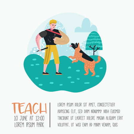 Man Training Dog in the Park. Dog Poster, Banner. Character Walking Outside with Pet. Vector illustration Illustration