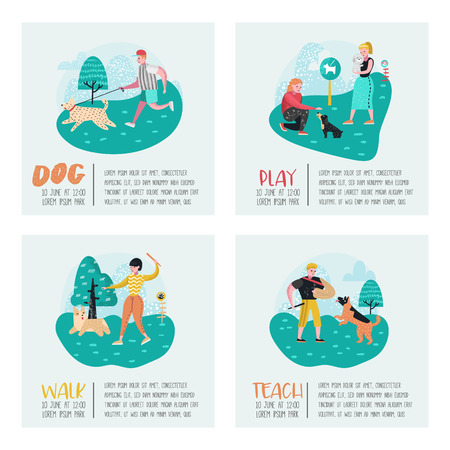 People Training Dogs in the Park. Dog Poster, Banner Set. Characters Walking Outside with Pets. Vector illustration Vettoriali