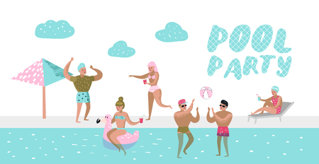 Pool Party Poster, Banner. Characters People Swimming, Relaxing, Have Fun in the Pool. Summertime Holidays at Beach Resort. Vector illustration 向量圖像