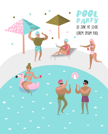 Pool Party Poster, Banner. Characters People Swimming, Relaxing, Have Fun in the Pool. Summertime Holidays at Beach Resort. Vector illustration Vettoriali