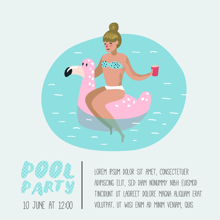 Pool Party Poster, Banner. Character Woman with Pink Flamingo Swimming, Relaxing, Have Fun in the Pool. Summertime Holidays at Beach Resort. Vector illustration Ilustração