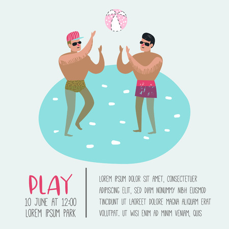 Beach Vacation Poster, Banner. Two Man Playing Ball, Relaxing, Have Fun in the Tropical Resort. Summertime Holidays. Vector illustration