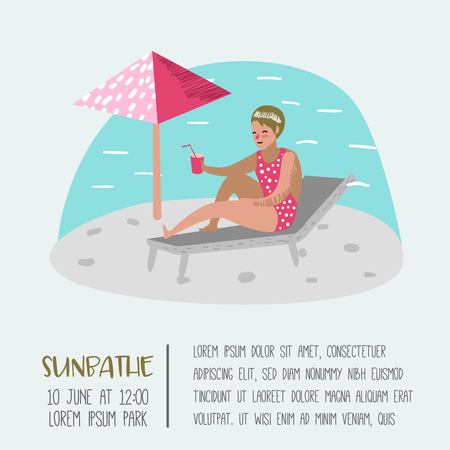 Beach Vacation Poster, Banner. Woman Sunbathing, Relaxing, Have Fun in the Tropical Resort. Summertime Holidays. Vector illustration