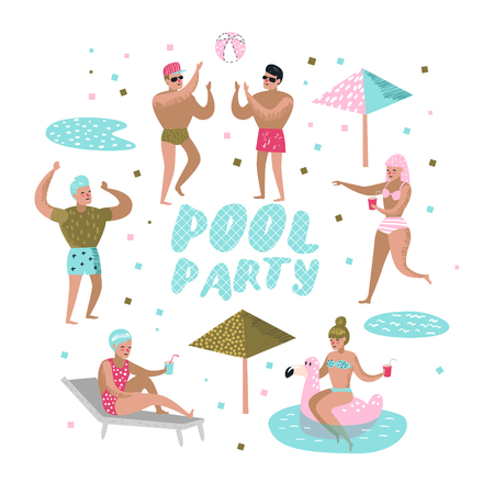 Pool Party. Characters People Swimming, Relaxing, Have Fun in the Pool. Summertime Holidays at Beach Resort. Vector illustration