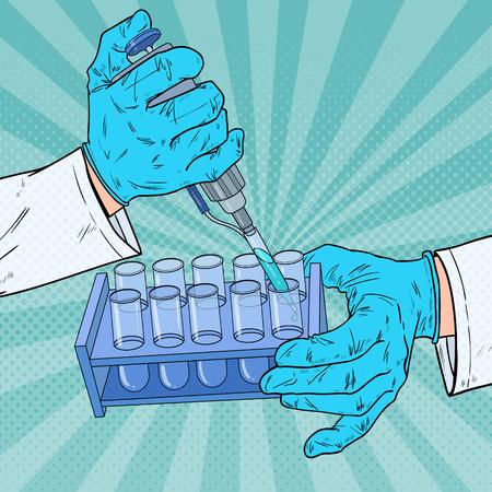 Científico de arte pop trabajando con equipos médicos. Análisis químico. Tubo de ensayo de laboratorio. Concepto de investigación científica. Ilustración vectorial