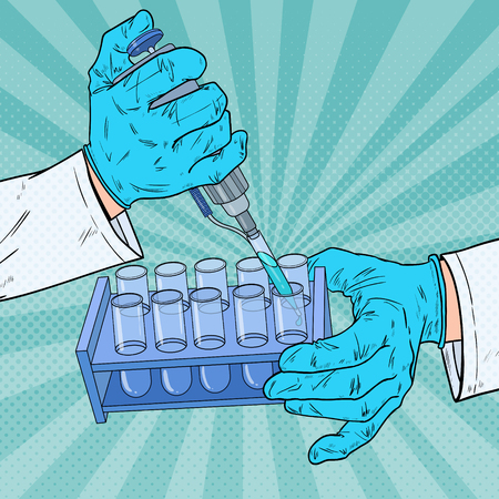 Pop Art Scientist Working with Medical Equipment. Chemical Analysis. Laboratory Test Tube. Scientific Research Concept. Vector illustration Illustration