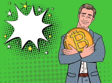 Pop Art Businessman with Big Golden Bitcoin Coin. Crypto Currency Concept. Virtual Money Advertising Poster. Vector illustration Stock Illustratie