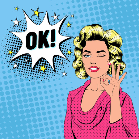 Pop Art Beautiful Woman Winking and Showing Sign OK. Joyful Girl Vintage Poster with Comic Speech Bubble. Pin Up Advertising Placard Banner. Vector illustration