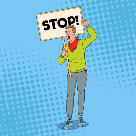Pop Art Angry Man Protesting on the Picket with Blank Banner. Strike and Protest Concept. Guy Shouting on Demonstration. Vector illustration Imagens - 102943367