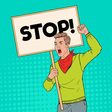Pop Art Young Man Protesting on the Picket with Blank Banner. Strike and Protest Concept. Guy Shouting on Demonstration. Vector illustration Illustration