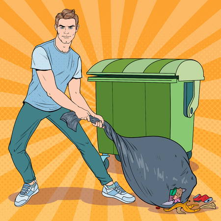 Pop Art Young Man Holding Trash Bag. Guy with Stinky Garbage Bag. Vector illustration Archivio Fotografico - 102980868