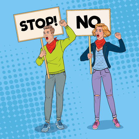 Pop Art Angry Man and Woman Protesting on the Picket with Banners. Strike and Protest Concept. People Shouting on Demonstration. Vector illustration Vectores