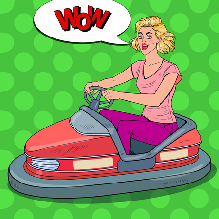 Pop Art Joyful Woman Riding Bumper Car at Fun Fair. Girl in Electric Car at Amusement Park. Vector illustration Illustration