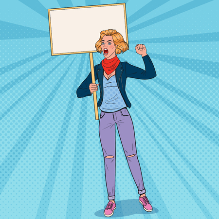 Pop Art Young Woman Protesting on the Picket with Blank Banner. Strike and Protest Concept. Girl Shouting on Demonstration. Vector illustration Foto de archivo - 103008712