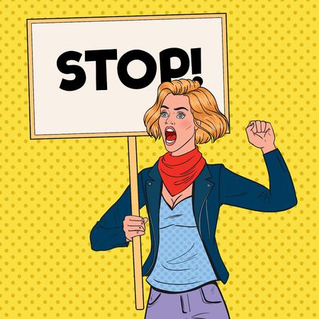 Pop Art Angry Woman protestiert auf dem Streikposten mit Stop Banner. Streik- und Protestkonzept. Mädchen schreit auf Demonstration. Vektorillustration