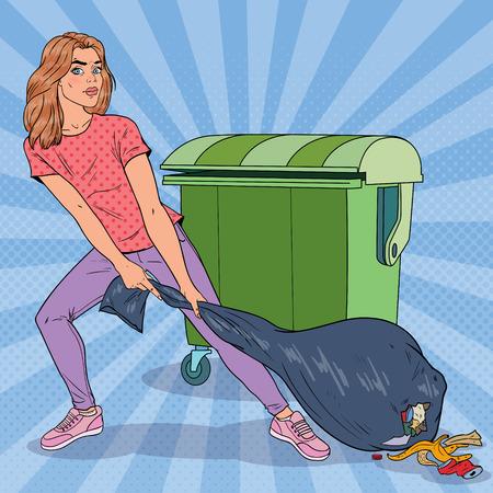 Pop Art giovane donna che tiene il sacchetto della spazzatura. Ragazza con sacco della spazzatura puzzolente. Illustrazione vettoriale
