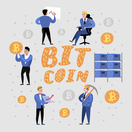 Bitcoin Concept with Cartoon Characters. Crypto Currency Virtual Money. Bitcoin Mining, Electronic Finance. Vector illustration Stock Illustratie