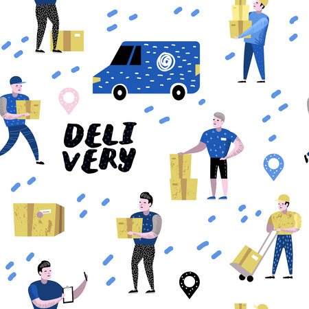 Delivery Service, Cargo Industry Seamless Pattern. Courier Characters Set in Different Poses. Postal Workers in Uniform with Parcels. Vector illustration