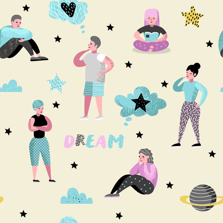 Happy People Dreaming about Something Seamless Pattern. Young Man Thinking. Woman Dream about Future. Joyful Cartoon Characters. Vector illustration