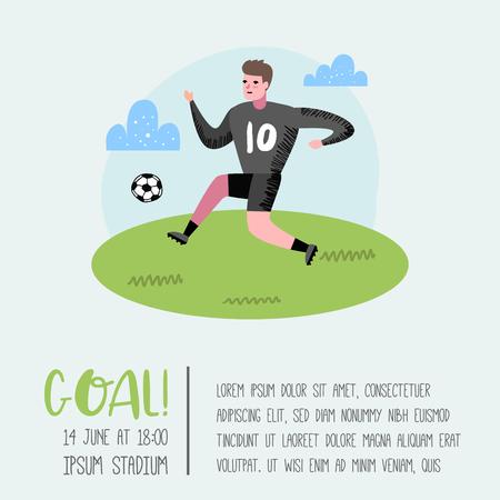 Soccer Cartoon Player Poster, Placard. Footballer in Uniform. Sportsman Character Banner. Sport Athlete Playing Football. Vector illustration