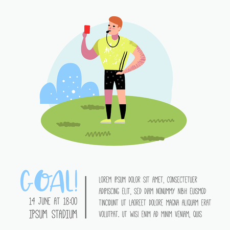Soccer Cartoon Referee Poster, Placard. Footballer in Uniform. Sportsman Character Banner. Sport Athlete Playing Football. Vector illustration