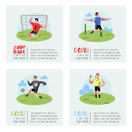 Soccer Cartoon Players Poster Set. Footballers in Uniform. Sportsman Character Banner. Sport Athletes Playing Football. Vector illustration