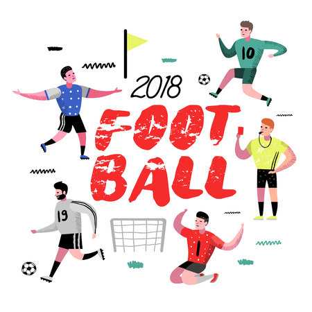 Soccer Cartoon Players Doodle. Football Player in Uniform. Sportsman Characters. Sport Athletes Playing Football.
