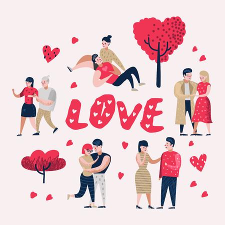 Paar verliefd stripfiguren mensen. Valentijnsdag Doodle met harten en romantische elementen. Liefde en romantiek concept. Vector illustratie Stockfoto - 102929076